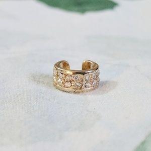 Adjustable Gold Ear Cuff With Rhinestones